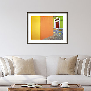 Amanti Art Door and colorful buildings  Framed Wall Art Print, Gray, rollover
