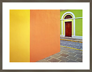 Amanti Art Door and colorful buildings  Framed Wall Art Print, Gray, large