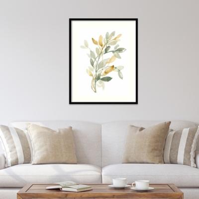 Amanti Art Sage and Sienna Leaves II  Framed Wall Art Print, Black, large