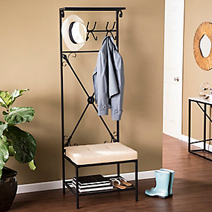 Southern Enterprises Wheatlon Storage Rack with Bench Seat, , rollover