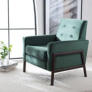 Safavieh Roald Sofa Accent Chair, Malachite/Antique Coffee, rollover