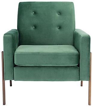 Safavieh Roald Sofa Accent Chair, Malachite/Antique Coffee, large