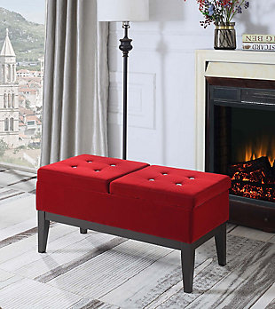 ORE International Bejewelled Dual Lift Storage Bench, , rollover