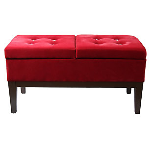ORE International Bejewelled Dual Lift Storage Bench, , large