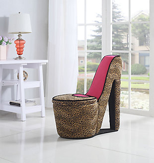 ORE International High Heel Storage Chair, Cheetah/Pink, rollover