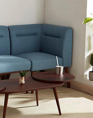 ORE International Ariel Corner Sectional Seater, Blue/Espresso, rollover