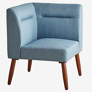 ORE International Ariel Corner Sectional Seater, Blue/Espresso, large