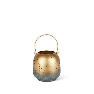 6.49-Inch Tall Brass and Antique Lantern with Built in 3-Inch Flameless Candle (Set of 2), , large