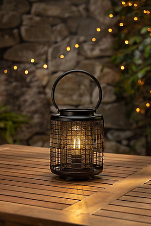 7.7-inch Tall Battery Operated Black Metal Wire Lanterns with LED Light Bulb (Set of 2), , rollover