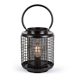 7.7-inch Tall Battery Operated Black Metal Wire Lanterns with LED Light Bulb (Set of 2), , large