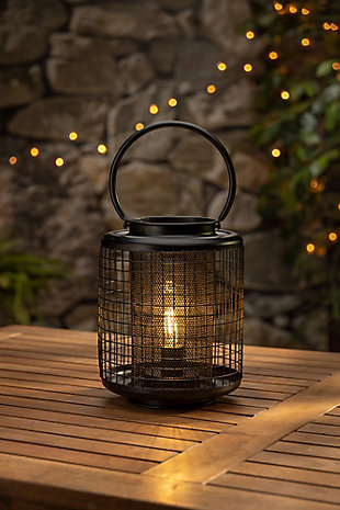 8.9-inch Tall Battery Operated Black Metal Wire Lanterns with LED Light Bulb (Set of 2), , rollover