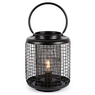 8.9-inch Tall Battery Operated Black Metal Wire Lanterns with LED Light Bulb (Set of 2), , large