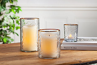 5-Inch Tall Glass Candle Holders with Gold Rim (Set of 6), , rollover