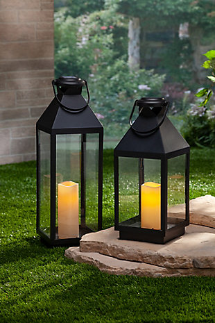 23.81-Inch Tall Black Plastic Solar Lantern with Built in Flameless Candle, , rollover