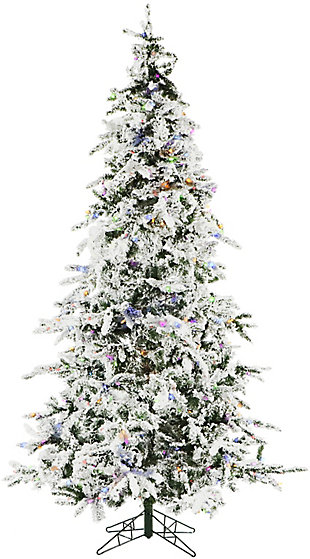 7.5-Ft. White Pine Snowy Artificial Christmas Tree with Multi-Color LED String Lighting and Holiday, , rollover