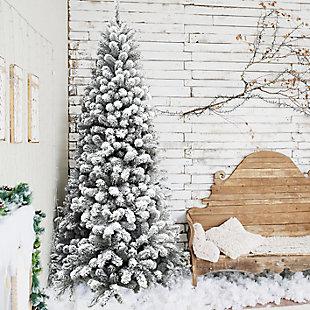 6.5-Ft. Flocked Alaskan Pine Christmas Tree, , rollover