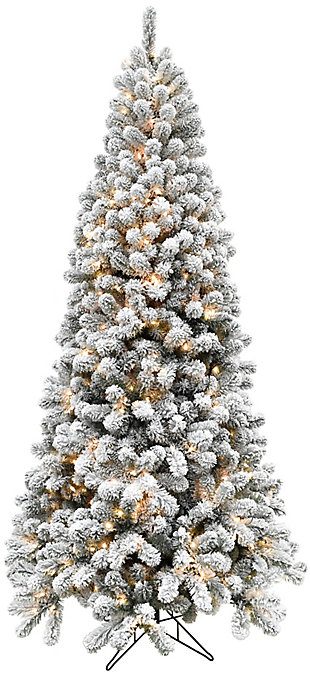 7.5-Ft. Flocked Alaskan Pine Christmas Tree with Clear LED String Lighting, , large