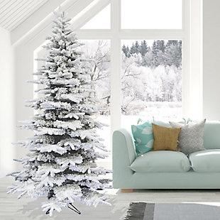 7.5-Ft. Flocked Mountain Pine Christmas Tree, , rollover