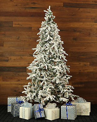 7.5-Ft. Flocked Mountain Pine Christmas Tree with Clear LED String Lighting, , rollover