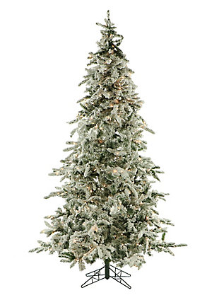 9-Ft. Flocked Mountain Pine Christmas Tree with Clear LED String Lighting, , large