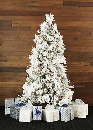 12-Ft. Flocked Snowy Pine Christmas Tree with Clear LED String Lighting, , rollover