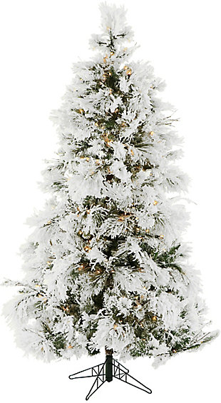 12-Ft. Flocked Snowy Pine Christmas Tree with Clear LED String Lighting, , large