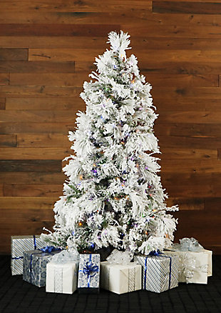 6.5-Ft. Flocked Snowy Pine Christmas Tree with Multi-Color LED String Lighting, , rollover