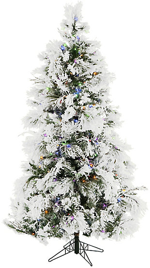 6.5-Ft. Flocked Snowy Pine Christmas Tree with Multi-Color LED String Lighting, , large
