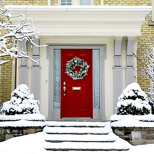 24-in. Christmas Frosted Wreath Door Hanging with Ornaments, Pinecones, and Berries, , rollover