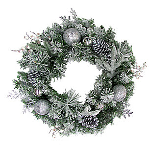 24-in. Christmas Frosted Wreath Door Hanging with Ornaments, Pinecones, and Berries, , large