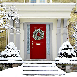 24-in. Christmas Prelit Frosted Wreath with Ornaments, Pinecones, and Berries, , rollover