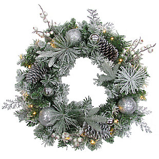 24-in. Christmas Prelit Frosted Wreath with Ornaments, Pinecones, and Berries, , large