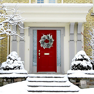24-in. Christmas Snow Flocked Wreath with Oversized Pinecones, , rollover