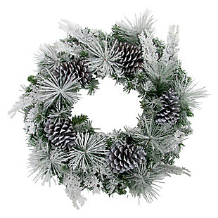 24-in. Christmas Snow Flocked Wreath with Oversized Pinecones, , large