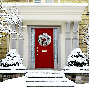 24-in. Christmas Prelit Snow Flocked Wreath with Oversized Pinecones, , rollover