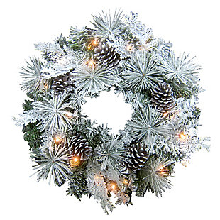 24-in. Christmas Prelit Snow Flocked Wreath with Oversized Pinecones, , large
