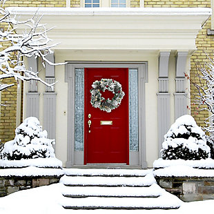 24-in. Christmas Prelit Snow Covered Wreath with Pinecones and Berries, , rollover