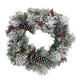 24-in. Christmas Prelit Snow Covered Wreath with Pinecones and Berries, , large