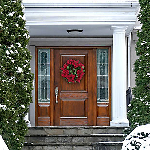 24-in. Christmas Wreath with Velvet Poinsettia Blooms and Leaves, , rollover