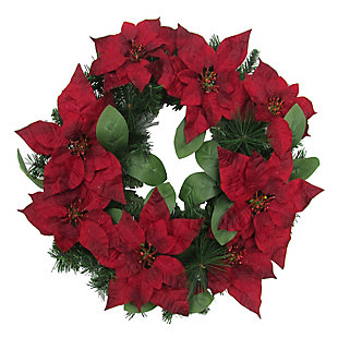 24-in. Christmas Wreath with Velvet Poinsettia Blooms and Leaves, , large