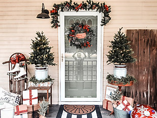 24-in. Wreath and 6-ft. Garland Set, Snow Flocked with Pinecones and Bows, , rollover