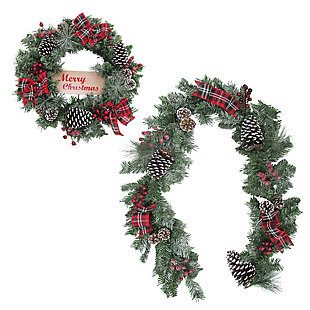 24-in. Wreath and 6-ft. Garland Set, Snow Flocked with Pinecones and Bows, , large