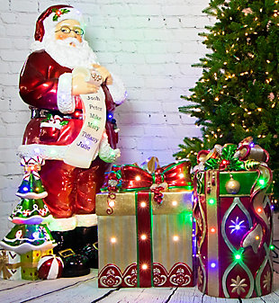 Indoor/Outdoor 4-Ft. Santa Claus Holding Naughty and Nice Scroll with Long-Lasting LED Lights, , rollover