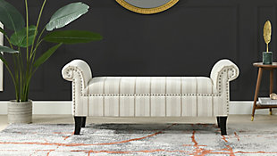 Jennifer Taylor Home Kathy Roll Arm Entryway Accent Bench, Flax White/Beige, rollover