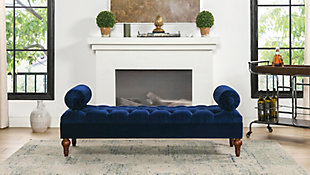 Jennifer Taylor Home Lewis Bolster Arm Entryway Bench, Navy Blue, rollover