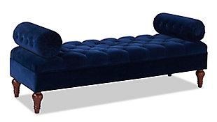 Jennifer Taylor Home Lewis Bolster Arm Entryway Bench, Navy Blue, large