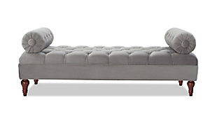 Jennifer Taylor Home Lewis Bolster Arm Entryway Bench, Opal Gray, large