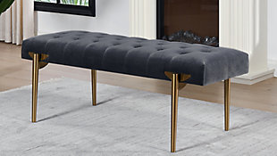 Jennifer Taylor Home Aria Accent Bench, Steel Gray, rollover