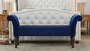 Jennifer Taylor Home Elise Roll Arm Entryway Bench, Navy Blue, rollover