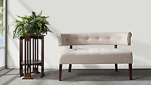 Jennifer Taylor Home Jared Roll Arm Bench Settee, Natural Beige, rollover